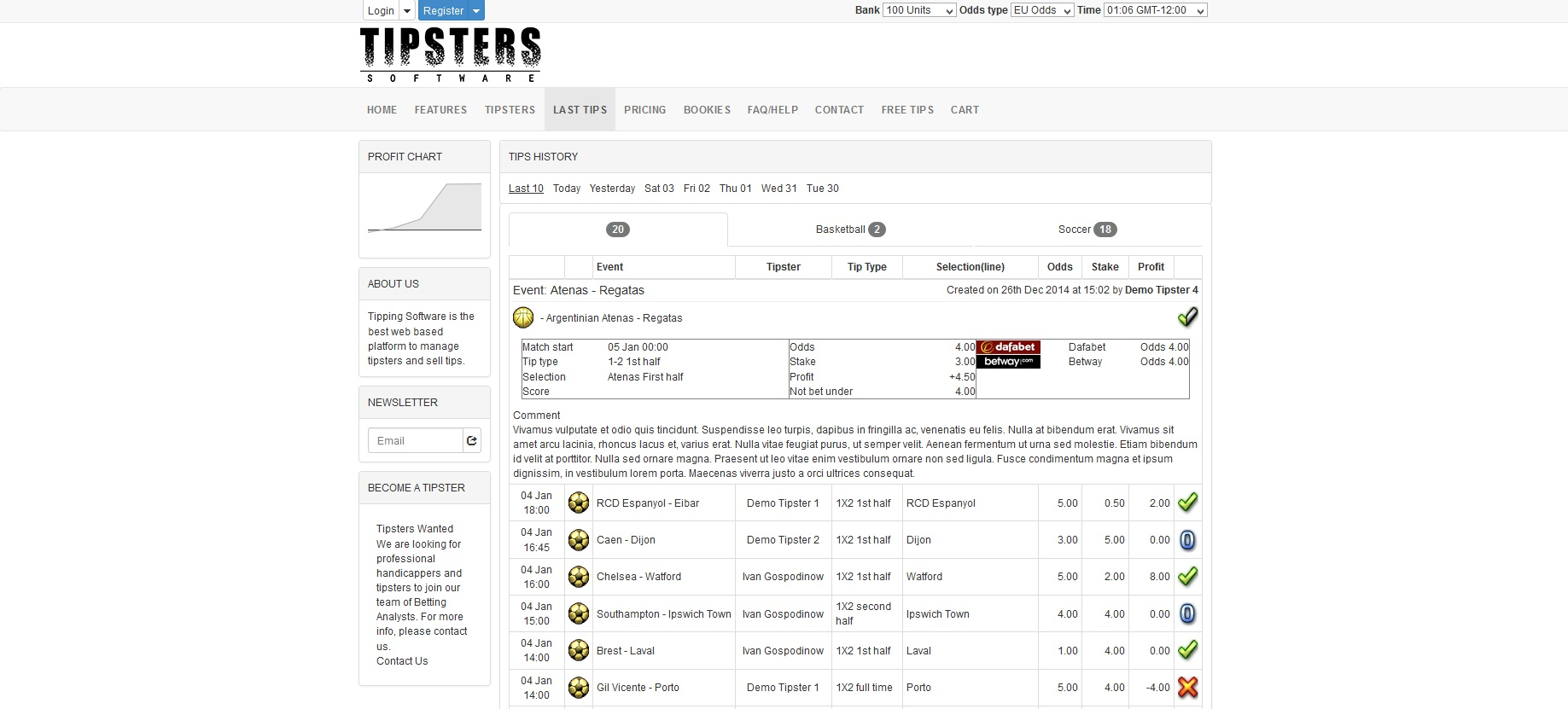 tipsters software tips