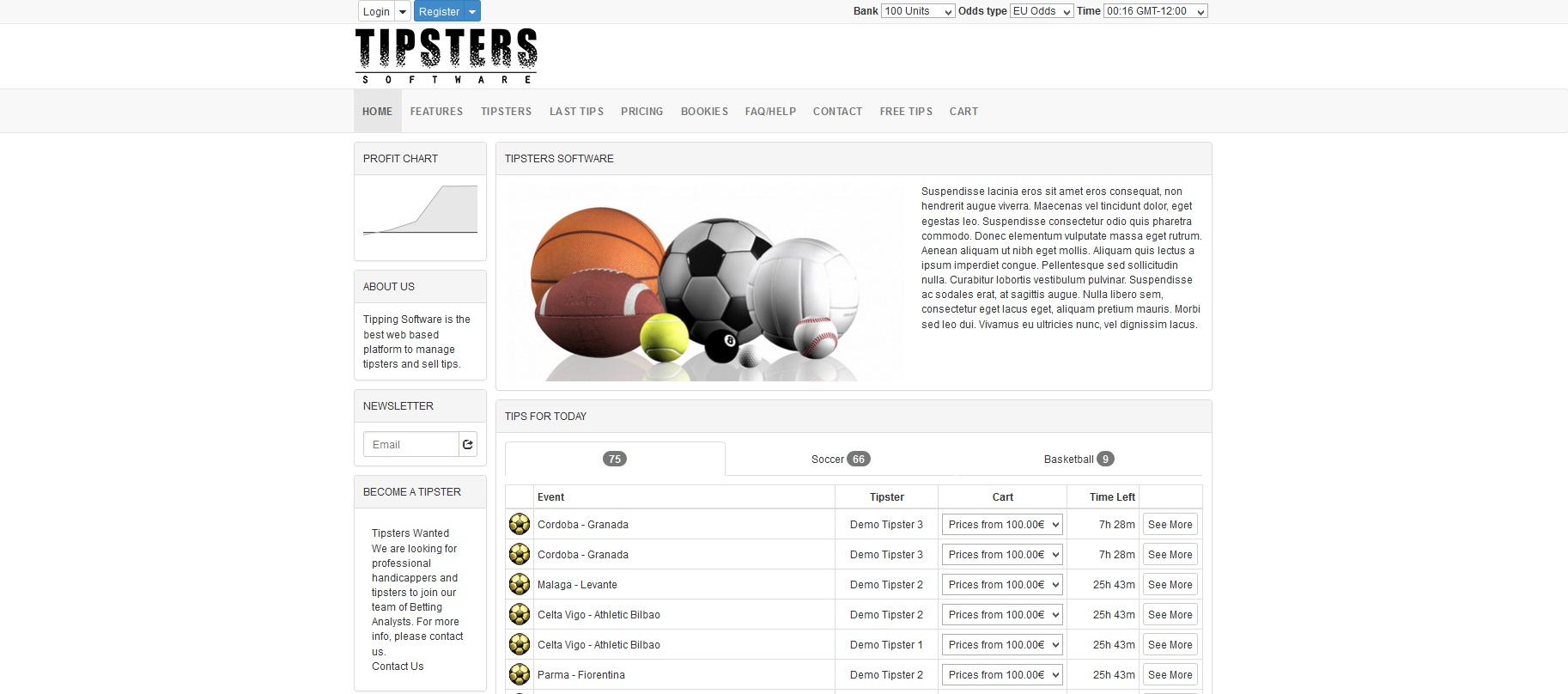 tipsters software homepage